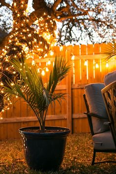 String lights create a lovely glow in a backyard at dusk. That makes this outdoor space hard to resist! See more of this backyard seating area styled by jen Woodhouse of House of Wood.    @jenwoodhouse