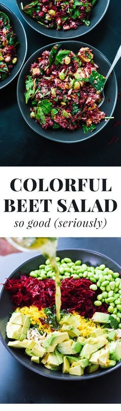Everyone loves this healthy raw beet salad recipe with quinoa, carrots and spinach! Who knew shredded raw beets could be so good? #healthandfitnessrecipes #rawbeetsalad