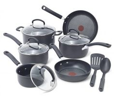 T-fal Ultimate Hard Anodized Scratch Resistant Titanium Nonstick Thermo-Spot Heat Indicator Anti-Warp Base Dishwasher Safe Oven Safe PFOA Free Cookware Set, Gray: Kitchen & Dining Best Nonstick Cookware Set, Safest Cookware, Kitchen Cookware Sets, Cast Iron Cookware, Bakeware Sets, Home Design, Bento, Pots And Pans Sets, Shopping