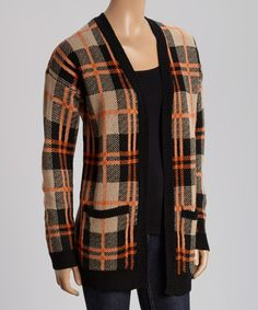 Love this Orange & Brown Plaid Knit Open Cardigan on #zulily! #zulilyfinds