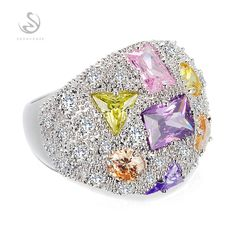 The new listing Silver Plated Trendy jewelry Pink Blue Morganite yellow Cubic Zirconia Best Sellers RING MKY408GNO sz#6 7 8 9