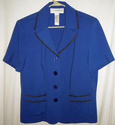 """$12.00 Gorgeous Bright Blue Embellished Top by Sag Harbor Fits up to 44""""Bust Size 14 Free Shipping"""