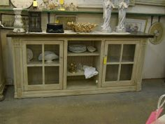 Glass Front Cabinet - made from salvaged windows and a hutch base.