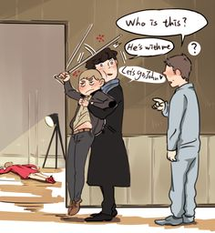 This is cute. : ) Sherlock fanart. Click for artist.