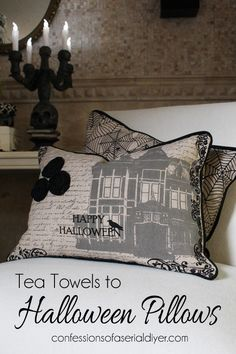 Halloween Throw Pillows from Tea Towels that are so easy to create.