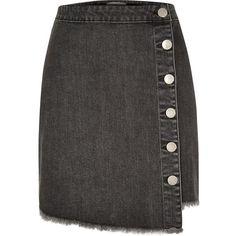 River Island Black wash denim buttoned mini skirt ($40) ❤ liked on Polyvore featuring skirts, mini skirts, bottoms, faldas, black, women, river island, short mini skirts, denim mini skirt and short denim skirts
