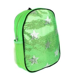Sequin Backpack Green Silver Stars #Unbranded