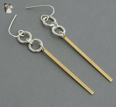Brass gold bar earrings long dangle line earrings tiny sterling silver hoops Amazon handmade jewelry hypoallergenic nickel free - Bridesmaid gifts (*Amazon Partner-Link)