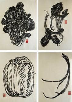 Asian Vegetable Set Hand-printed Block Print by Rigel Stuhmiller via Etsy Homage to Chino Farms, San Diego Linocut Prints, Art Prints, Botanical Illustration, Illustration Art, Vegetable Illustration, Veggie Art, Asian Vegetables, Art Graphique, Corporate Design