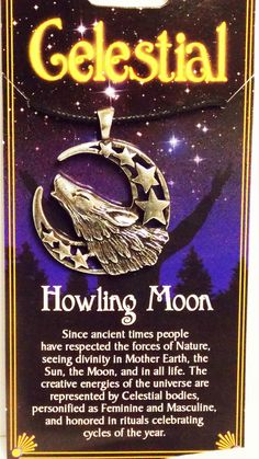 HOWLING MOON WOLF Spirit Guide Totem  Wicca Celtic  Amulet Pendant New Free Ship