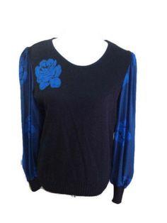 Vintage 80s Sweater by Athony Sicari Black Blue Sheer Sleeve Top