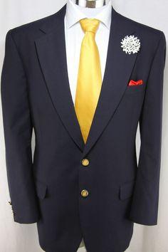 Authentic Burberry's Blazer Men's Sz 44R Fine Cotton Gold Button Navy Blue Italy #Burberrys #TwoButton