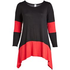 GLAM Black & Red Color Block Sidetail Tunic (€26) ❤ liked on Polyvore featuring plus size women's fashion, plus size clothing, plus size tops, plus size tunics, plus size, color block tunic, block top, long tops, colorblock top and red top