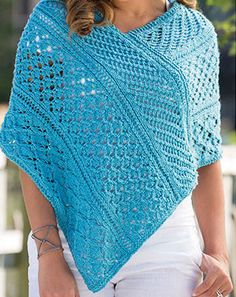 Knitting Pattern for Lace Sampler Poncho - Customizable sampler stitch poncho.