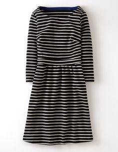 Ich hab das auf @BodenDirect entdeckt. Leila Kleid aus Ponte-Roma-Jersey Schwarz/Perlmutt Streifen