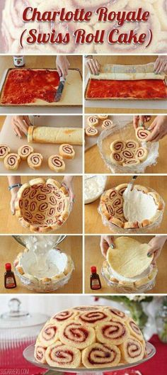 Charlotte Royale (Swiss Roll Cake) f&p are dying to make this impossible dessert. Just Desserts, Delicious Desserts, Yummy Food, Baking Desserts, Swiss Desserts, Italian Desserts, Sweet Recipes, Cake Recipes, Dessert Recipes