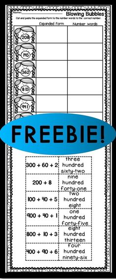 Use this FREE expanded form worksheet with your or grade classroom or home school students. These printable worksheets are great for working on place value. Students will cut and paste the expanded form and the number word to the correct num Expanded Form Worksheets, Math Worksheets, Printable Worksheets, Math Resources, Math Activities, Math Games, Expanded Notation, Math Strategies, Printables