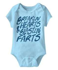 Look at this Urs Truly Aqua Hearts & Farts Bodysuit - Infant on #zulily today!