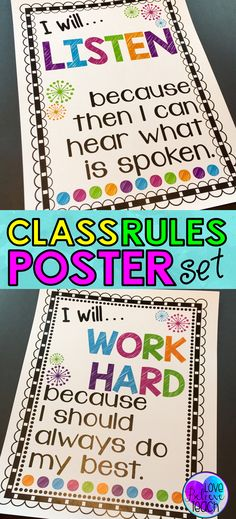Classroom Rules Posters (Class Rules Posters) Classroom rules for elementary students, but with a twist. They encourage your students to think more deeply about their behavior and what you expect from them. A great class rules poster set that focuses on a 3rd Grade Classroom, Classroom Behavior, Future Classroom, School Classroom, Classroom Ideas, Elementary Classroom Rules, Neon Classroom Decor, Classroom Promise, Clean Classroom