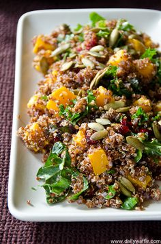 Butternut squash, garlic, quinoa, cranberries, kale, pepitas with an orange dressing. Pretty good- made it as a main dish, would make as a side dish next time.