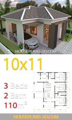 House design 10x11 with 3 Bedrooms Hip tiles - House Plans 3D #smallhousedecorating