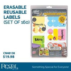 "ERASABLE REUSABLE LABELS (SET OF 160)  For every room in the home: Garage, laundry, pantry, kid's room, office. Erase & rewrite as often as you need. Includes 160 asst. labels, permanent marker and label once eraser. 3 sizes of labels: 2-3/8"" x 1-1/2"", 2-3/8"" x 7/8"", 1-1/4""Diam. circle."