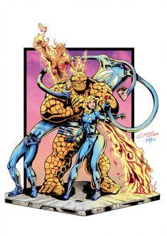 Fantastic Four (color) by johncastelhano filmfantastic Marvel Show, Marvel Comic Universe, Comics Universe, Fantastic Four Marvel, Mister Fantastic, Captain Marvel, Marvel Dc, Marvel Comics, Marvel Tribute
