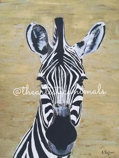 Canvas print of original painting Animal painting Zebra