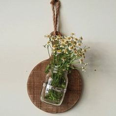 Hanging Bread Board With Glass Jar Vase