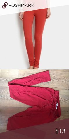 Red cotton leggings Purchased from India, super soft leggings in a beautiful red hue. Very long. Only worn twice. Biba Pants Leggings