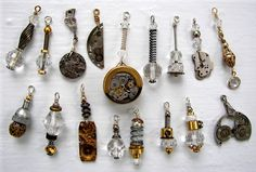 collection of one of a kind charms created using a variety of cast offs....from a train token dispenser, to watch parts, to clock hardware.  unavailable, part of a private collection.