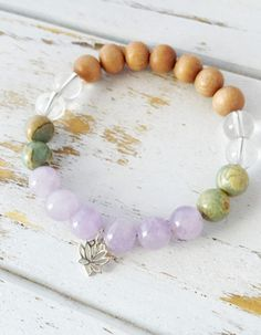 I Am Empowered Bracelet, Aqua Terra Jasper, Cape Amethyst, Crystal Quartz & Rosewood Bracelet, Lotus Charm, Mala Bracelet, Yoga Bracelet, Intention Jewelry