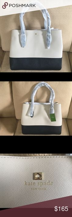 "Kate Spade Cove Street Airel Handbag Kate Spade Cove Street Airel Handbag  Color: Ostrich (beige) & Black  Dimensions: 11.9"" x 15"" x 6.2""  Original Price: $478  This bag is new with tags, sitting in my closet. Let me know if you have any questions! kate spade Bags Shoulder Bags"