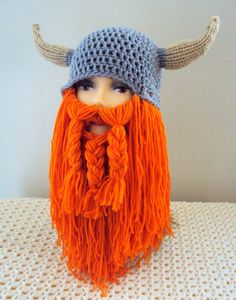Viking Hat Long Beard Hat Beard Beanie Knit Crochet Viking Hat with Horns and Beard Men Women Fall Winter Clothing Accessories Gift Ideas by GrahamsBazaar, $79.99