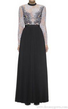 b9bfc4ad94d7 Classic Moni Lace Pleated Self Portrait Long Evening Dress
