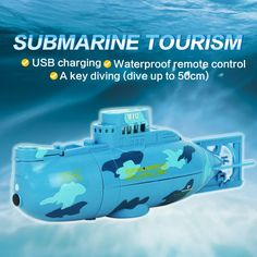 Mini RC 6CH High Powered 3.7V Plastic Waterproof RC Submarine Toy