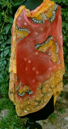 Scarf.Natural silk scarf - butterfly, red-yellow hand painted scarf Hand Painted Dress, Pressed Flower Art, Silk Art, Body Warmer, Silk Shawl, Chiffon Scarf, Fabric Painting, Silk Scarves, Scarf Styles