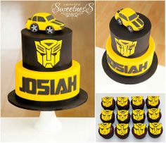 Jenny from The Sweet Stylist knew exactly what she wanted when she got me to make the cake and cupcakes for her son's birthday. Transformer Party, Bumble Bee Transformer Cake, Bumble Bee Cake, Transformers Cupcakes, Transformers Birthday Parties, Transformers Cake Bumblebee, Bee Cakes, Cupcake Cakes, 4th Birthday Cakes