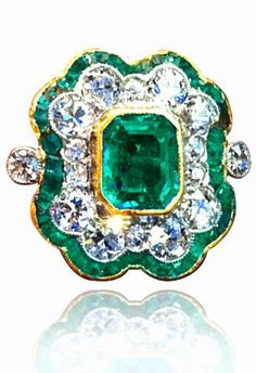 Ladies Diamond Emerald Art Deco Ring. Handmade item, rose gold, yellow gold, white gold, platinum, yellow diamond, pink diamond, brown diamond, white diamond, pave, emerald, invisible set, channel set, bezel set.