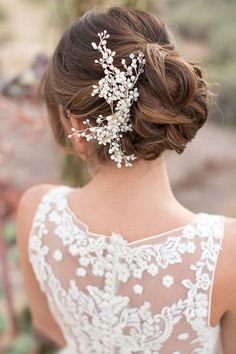 wedding updo hairstyles with pearl bridal headpieces