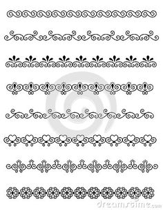 Illustration about Clip art collection of different decorative page dividers / border. Illustration of designs, clip, design - 24936725 Doodle Art Drawing, Mandala Drawing, Rangoli Designs Images, Mehndi Designs, Henna Patterns, Zentangle Patterns, Bracelete Tattoo, Band Tattoo Designs, Page Dividers