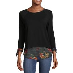 dab140bbee78 Alyx Womens Round Neck 3 4 Sleeve Knit Blouse - JCPenney