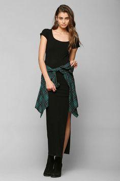 Silence + Noise Ribbed Knit Side-Slit Maxi Dress