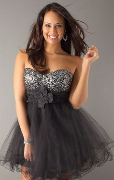 Tulle Sequined Sweetheart Short Plus Size Homecoming Dress With Flower(SOD0632)