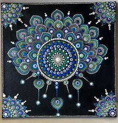 Peacock Dream Catcher Acrylic Dot Art Painting 12 X 12