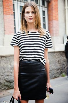 Stripes and leather.
