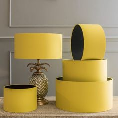 Bright Yellow Drum Shade - View All Lighting Accessories - Lighting Accessories - Lighting & Mirrors Yellow Lamp Shades, Light Shades, Yellow Gray Bedroom, Yellow Bedrooms, Yellow Theme, Dining Room Inspiration, Home Lighting, Lighting Ideas, Mirror With Lights