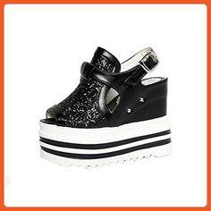 Angelliu Women's Vintage Patent Leather Platform Wedges Shoes Flatform Pumps - KVSPBCJMY