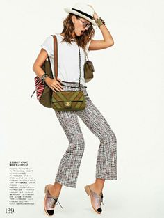 Crazy About Accessories: Lauren Auerbach by Xavi Gordo for Elle Japan, February 2017 #tshirt #neutrals #styling