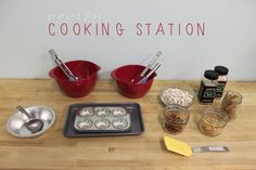 """Pretend Play Cooking Station: """"Cooking"""" with dried beans, corn kernels and pasta! Play Based Learning, Learning Through Play, Early Learning, Preschool Cooking, Cooking With Kids, Art Activities For Toddlers, Fun Activities, Toddler Play, Toddler Learning"""